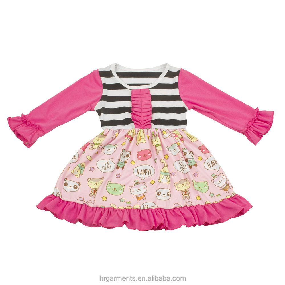 Boutique niños otoño ropa de manga larga último diseño chica vestido ...