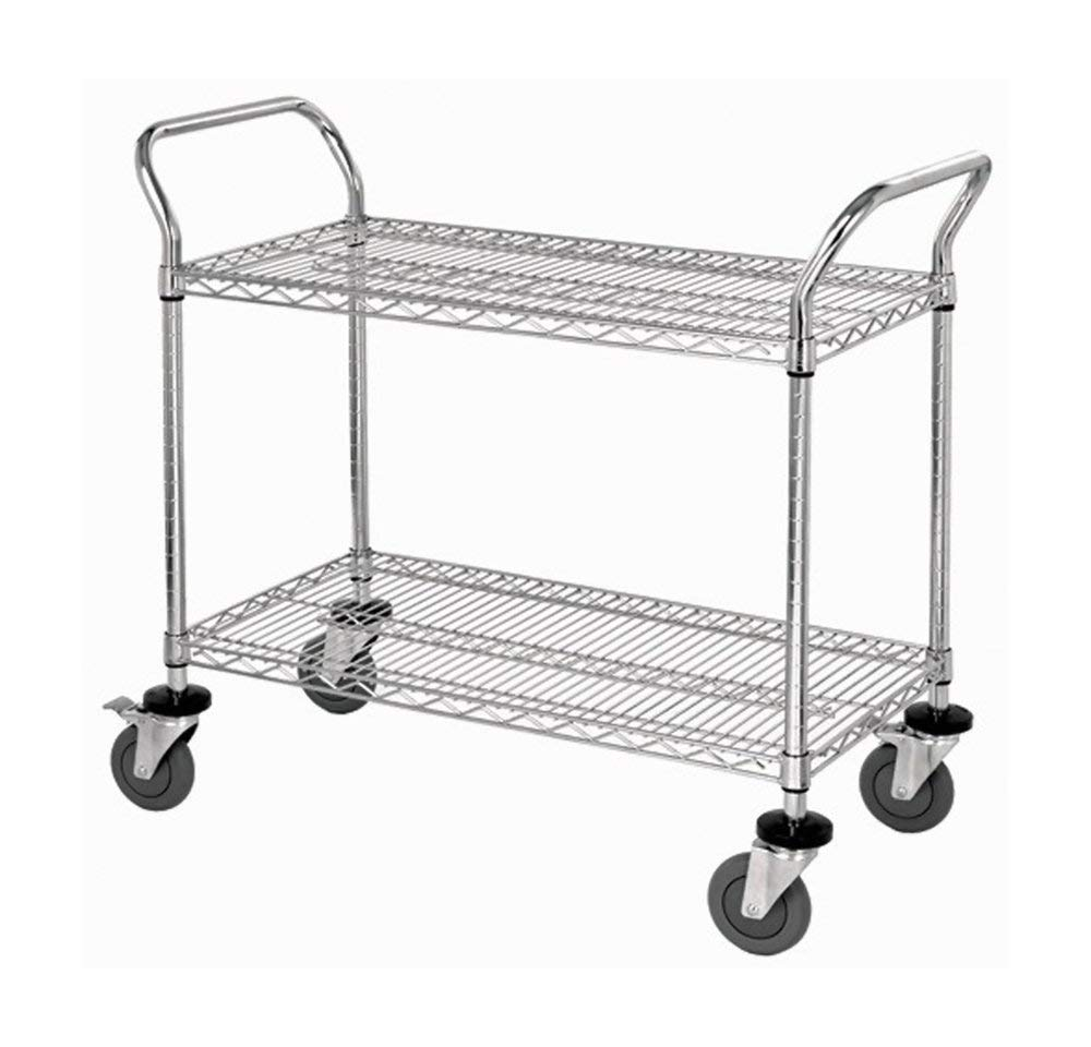 """Quantum 2 Wire Shelf Mobile Utility Cart Chrome 24""""""""W x 48""""""""L x 37-1/2""""""""H , Automotive, tool & industrial , Office maintenance, janitorial & lunchroom , Carts , Service/utility"""