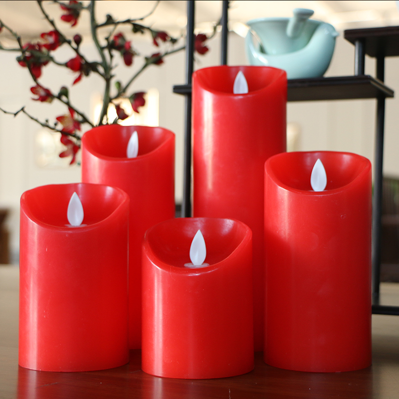 Chinoiserie Red Color Christmas Home Decoration LED Candles