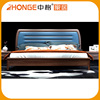 New Simple Style Designs Brown And Blue Solid Wood Double Bed