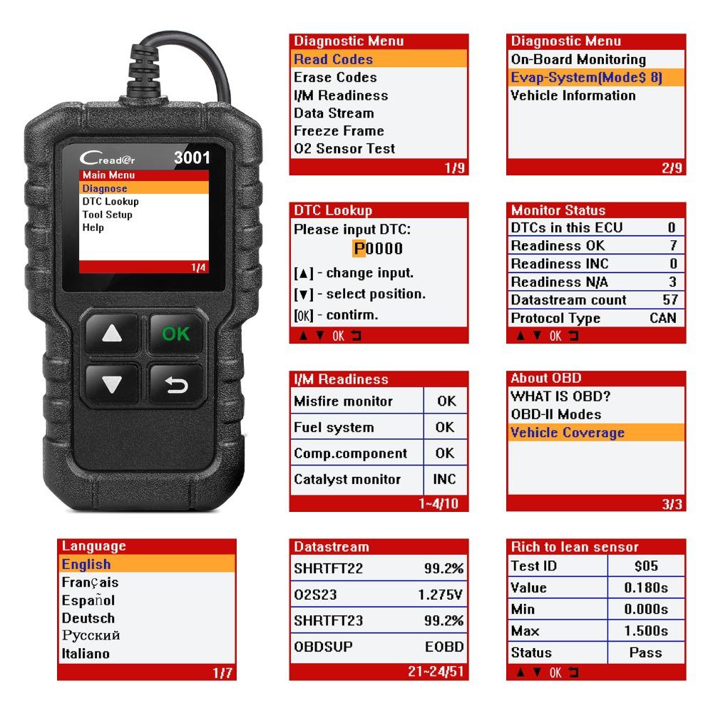 LANCIO Funzione Completa Lettore di Codice OBD2 Scanner Creader 3001 OBDII/EOBD Strumento di Diagnostica Auto CR3001 PK AL319 AL519 OM123