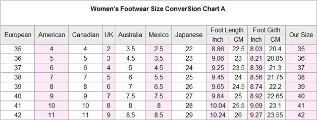 Us Shoe Size Conversion Chart Uk