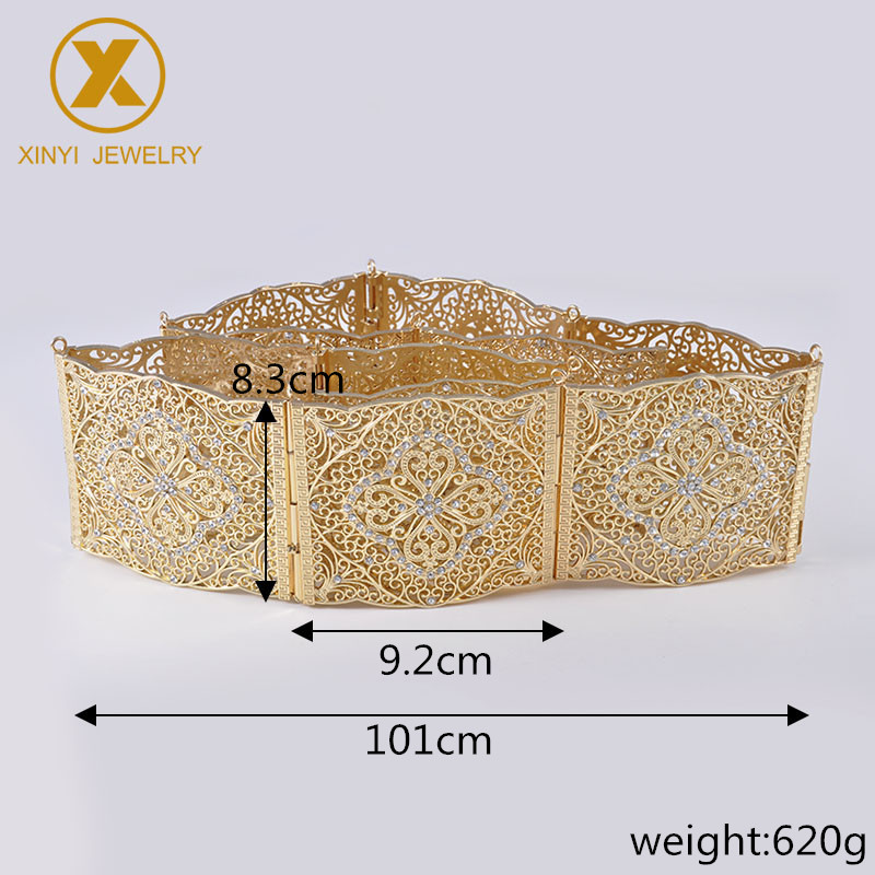 Wedding belt jewelry metal belt Moroccan style huge cutout pattern adjustable length square button belt gift