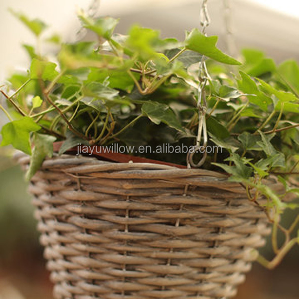 Yehapp Panier de fleurs en rotin en osier pour la d/écoration murale de mariage de jardin de maison panier de plante de mur de planteur de pot de vigne suspendu