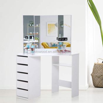 Attrayant Corner Dressing Table Mirror Set Wooden Vanity 5 Drawers Makeup Dresser  Furniture White Bedroom Desk Adjustable