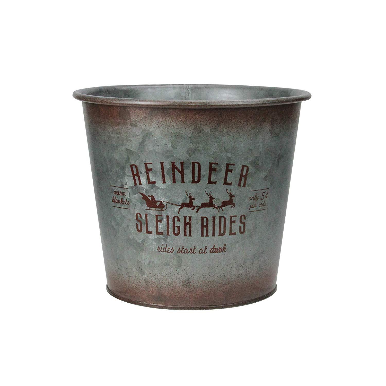 "Napco 7.5"" Reindeer Sleigh Rides Christmas Planter Pot Cover"