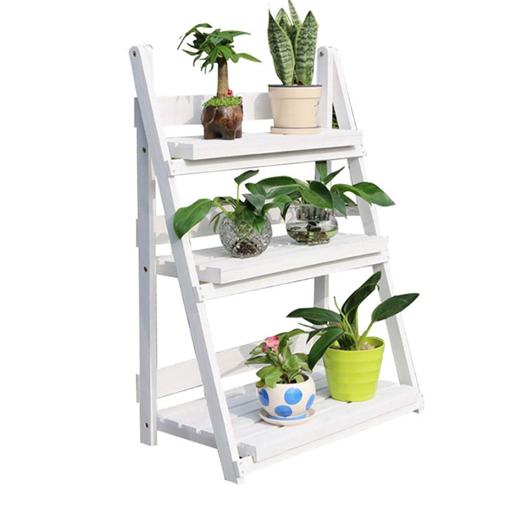 QFFL huajia Flower Stand, Multifunctional Pine Trapezoid Outdoor Balcony Flower Shop Multi-Layer Flower Stand (Color : Water Washing White)