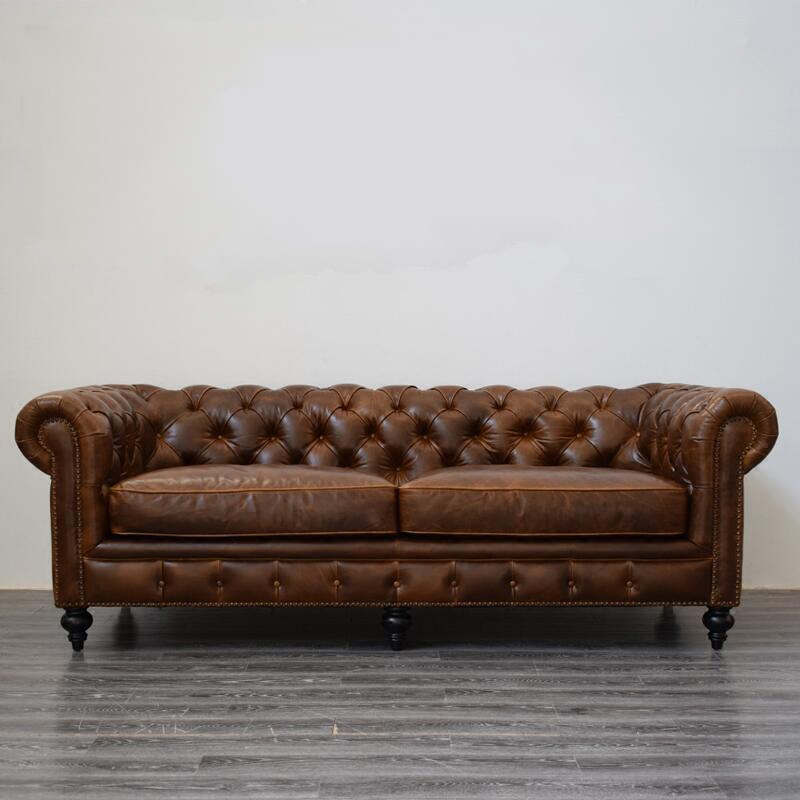 Traditional Brown Chesterfield Loveseat Sofa In Premium Leather Air