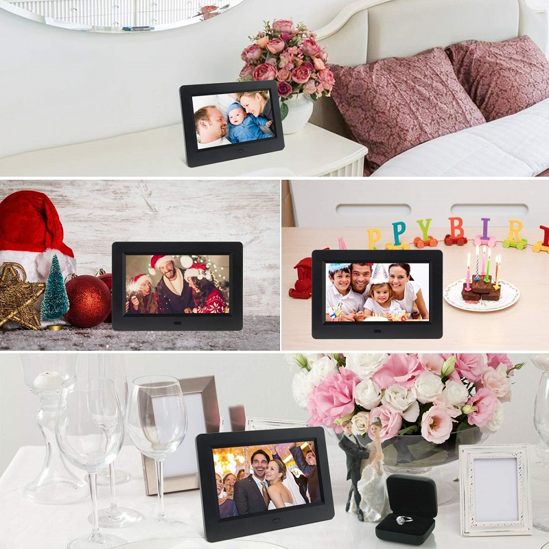 7 Inch Digital Photo Frame OEM Factory 1024x600 IPS Multi-functional Built-in MP3/MP4 player remote control