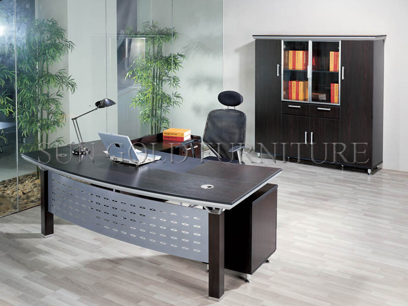 Modern Popular Office FurnitureBlack Wooden Executive Desk