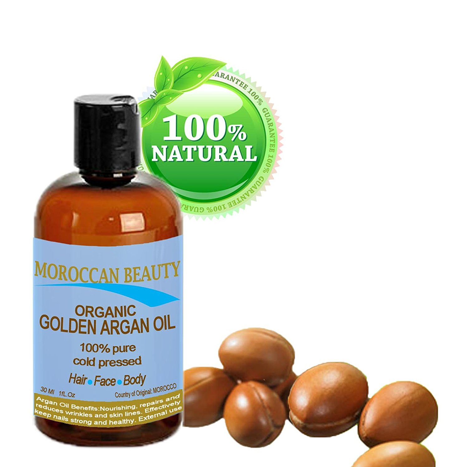 Moroccan Beauty Golden Argan Oil, 100% Pure/ Natural. Certified Organic. For Face, Hair and Body. 1 oz-30 Ml