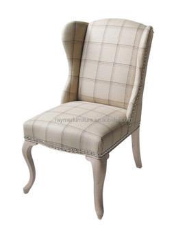 Clical Fabric Tufted Wing Back Accent Dining Chair With Metal Ring