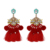 2019 New winter best quality fashion Boho crystal stud thread tassel earrings plush ball yarn tassel drop chandelier earrings