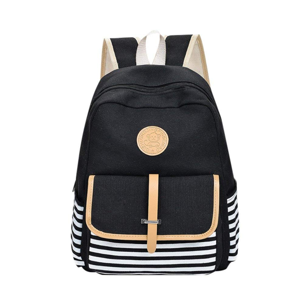 yijiamaoyiyouxia-Backpacks, Women Girls Canvas Preppy Shoulder Bookbags School Travel Backpack Bag