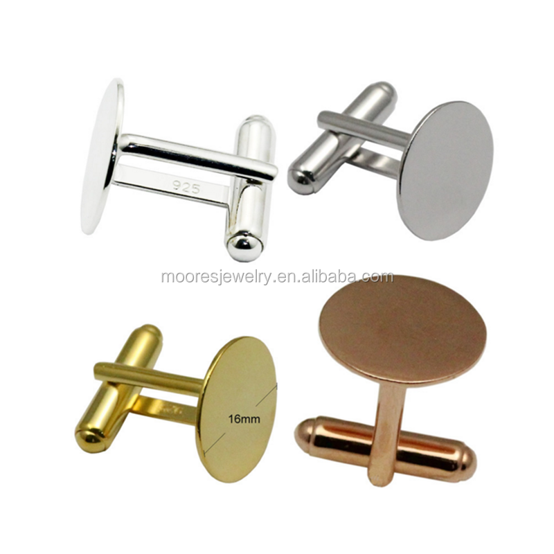Silver Plated Cuff Link Blanks for the Jewellery Designer Pack of 6