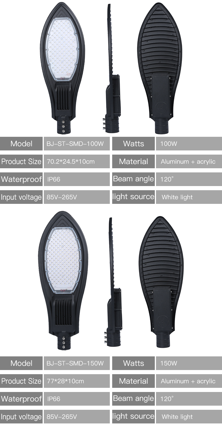 China manufacturer waterproof fixture Ip66 outdoor SMD 50w 100w 150w led street light