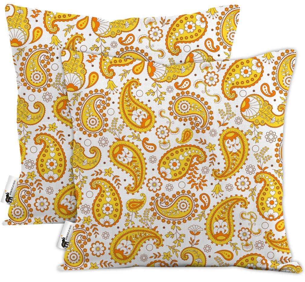 Get Quotations · Orange Boho Paisley Waterproof Outdoor Throw Pillows   Set  Of 2   Pumpkin Paisley Patio Pillows
