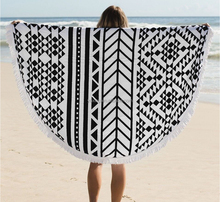 Hot promotional custom originality large round printed beach towel yoga towel with tassels