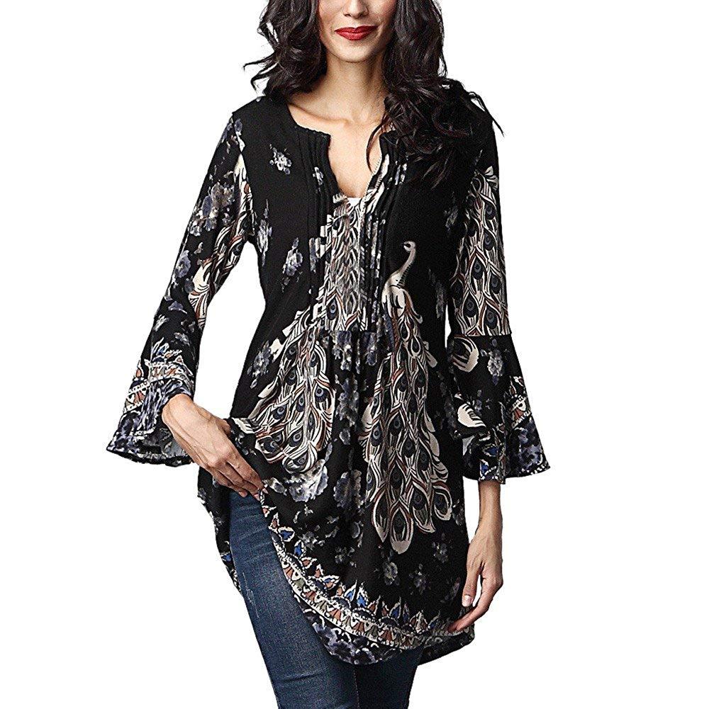 Jinjin Hot Sales!Womens Blouse, Women Floral Printed 3/4 Sleeved V- Neck Tops Loose T-Shirt Blouse