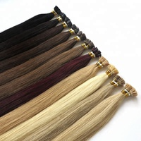 Most Popular Factory Price Buy Wholesale U V Fan Y I tip keratin human hair grey fusion bond hair extensions