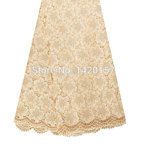 2016 new products bridal embroidered lace fabric, wholesale english lace fabric gold nigeria lace fabric for dresses