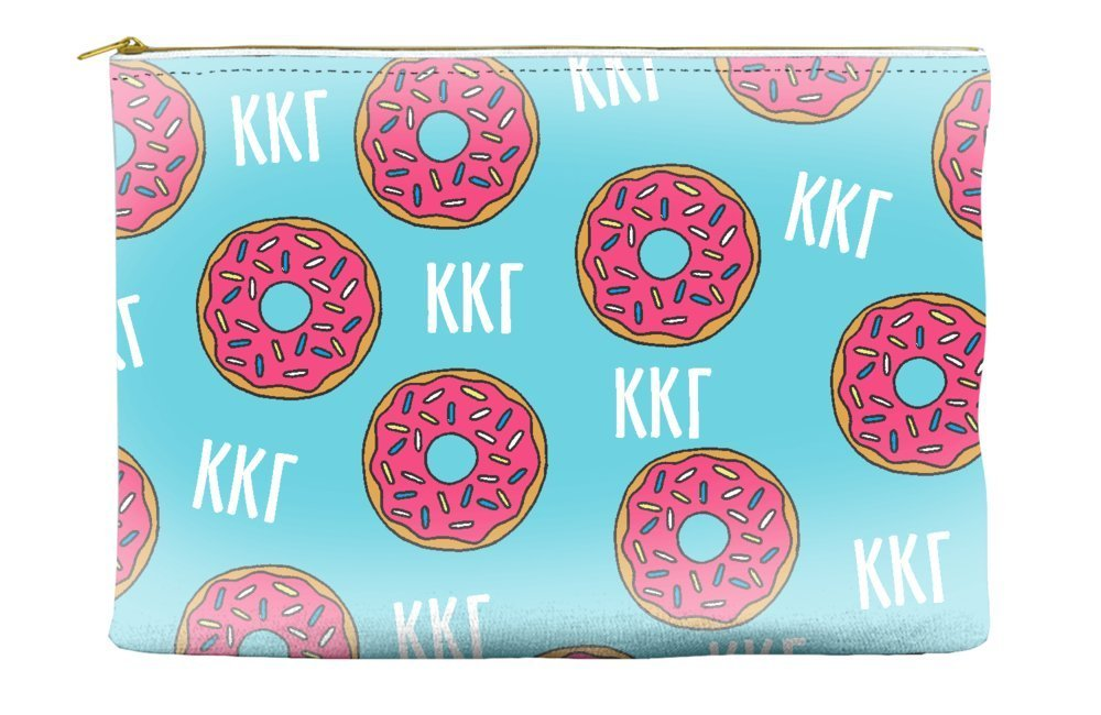 Kappa Kappa Gamma Donut Pattern Blue Cosmetic Accessory Pouch Bag for Makeup Jewelry & other Essentials