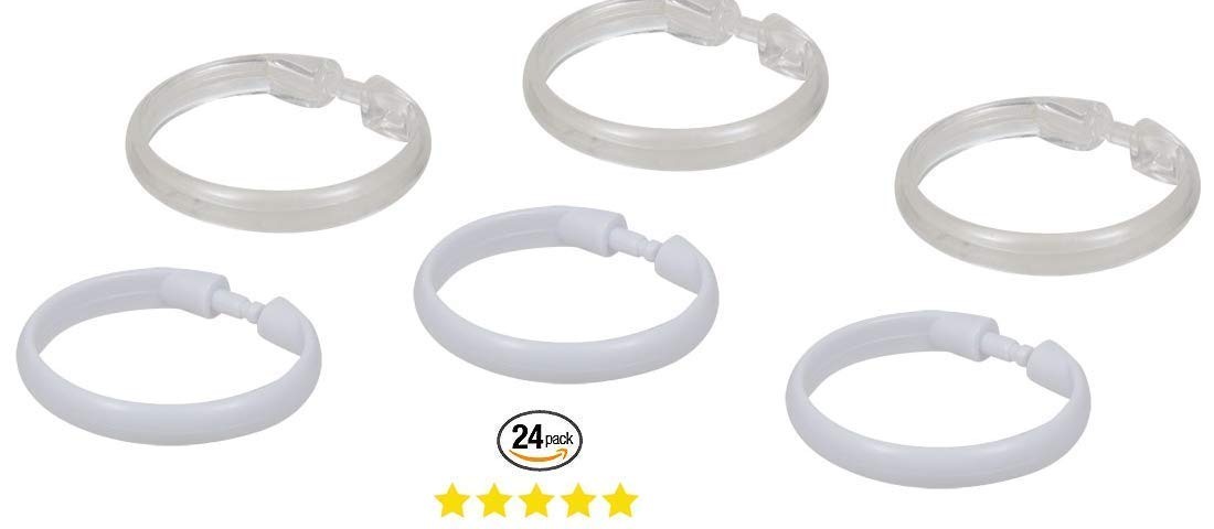 Round Shower Rings Hooks Clear White Curtain