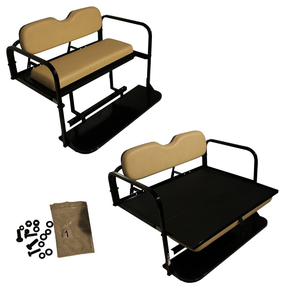Club Car Precedent Golf Cart Flip Folding Rear Back Seat Kit - Buff/Beige Cushions