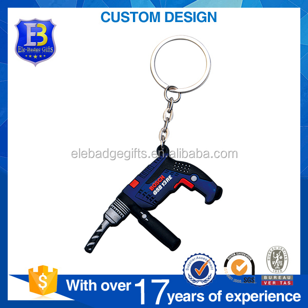 Fashion soft pvc electric drill key chain keyring keychain tool