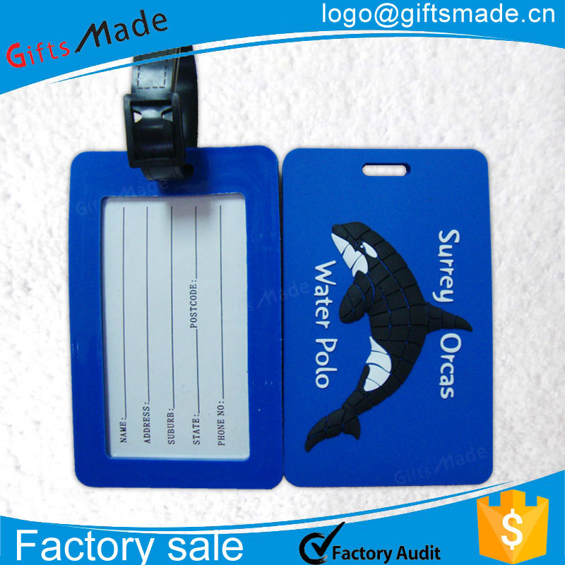 Custom 3D soft silicone/ rubber/pvc luggage tag