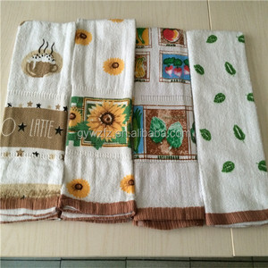 wholesale CUT PILE printed cotton tea towel, kitchen towel, coffee towel