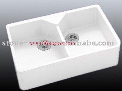 1,5 becken für bad & küche spülen aus keramik mit abtropffläche