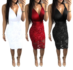 fe34113d6d Bandage Dress Factory Women Sexy Red Lace Party Dress