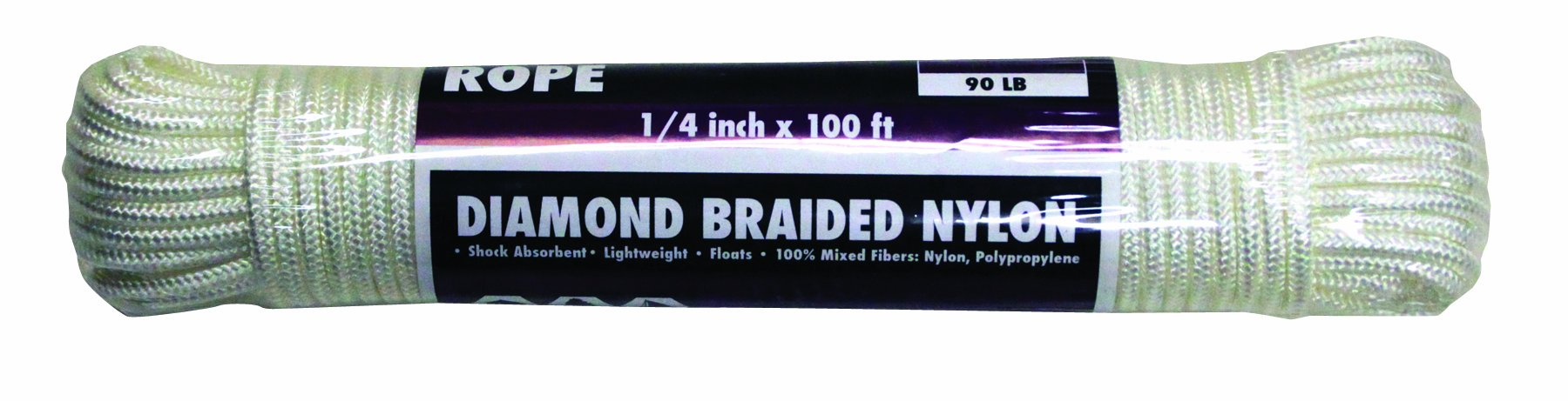 Rope King DBN-14100 Diamond Braided Nylon Rope 1/4 inch x 100 feet
