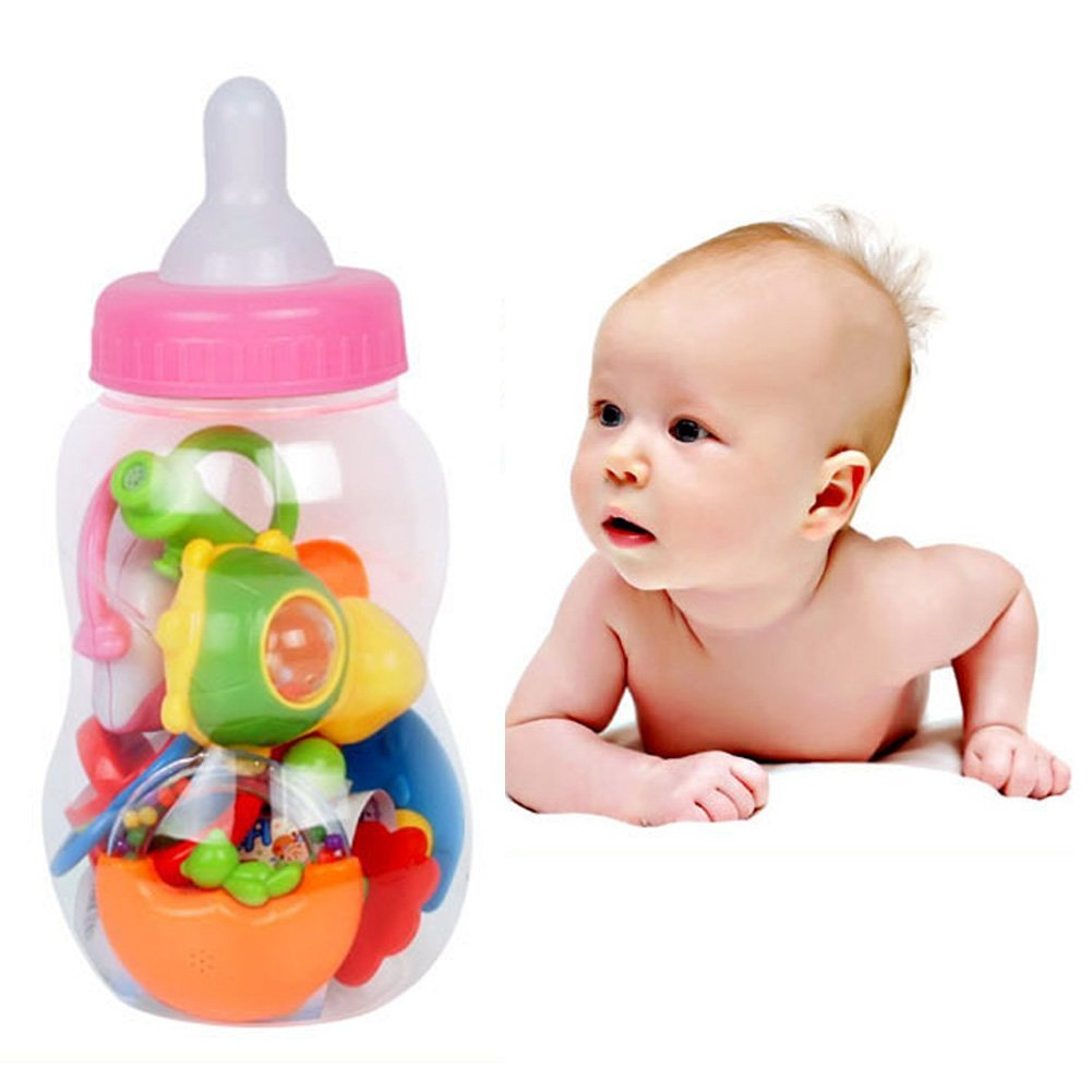 Pyage(TM) 8pcs/set Cute Baby Gift Educational Toys Baby Bottle Rattles Combination Baby Hand Bell Baby Rattles Set Toy Gift FCI#