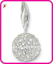 popular alloy round crystal charm with lobster clasp for nacklace and bracelet jewelry pendant (H100847)