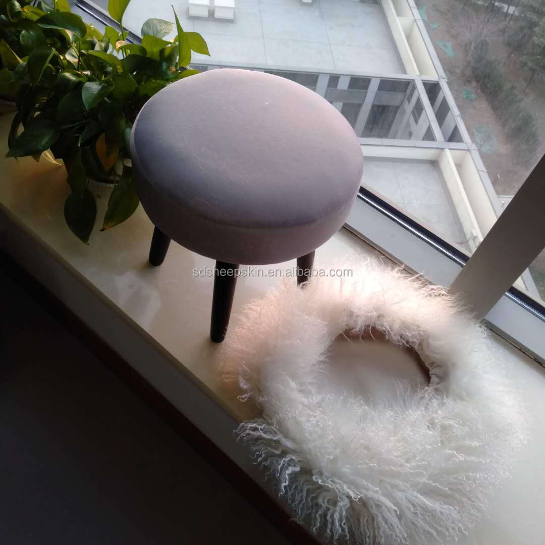Footstool seat covers round sheepskin cover