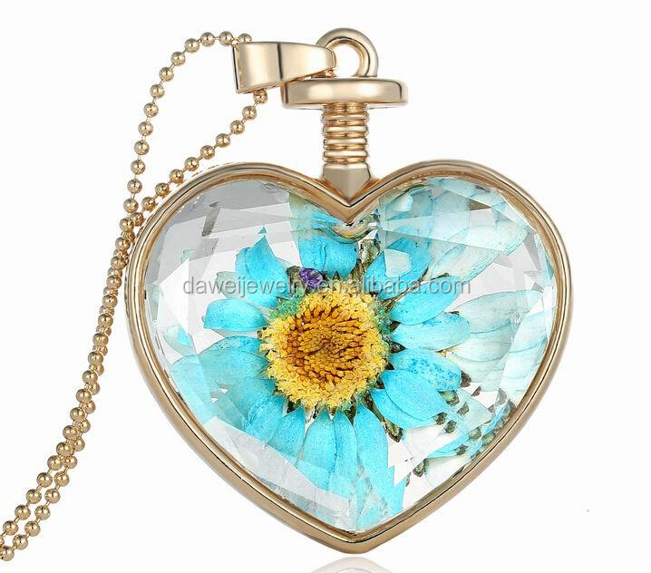 fashion flower heart glass fancy long chain necklace with pendant