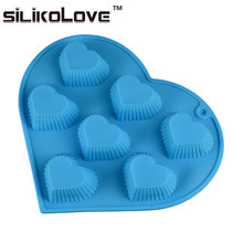 Human Heart Shaped 7 Cavity Cooking Concepts Silicone Cake Mold For Cake