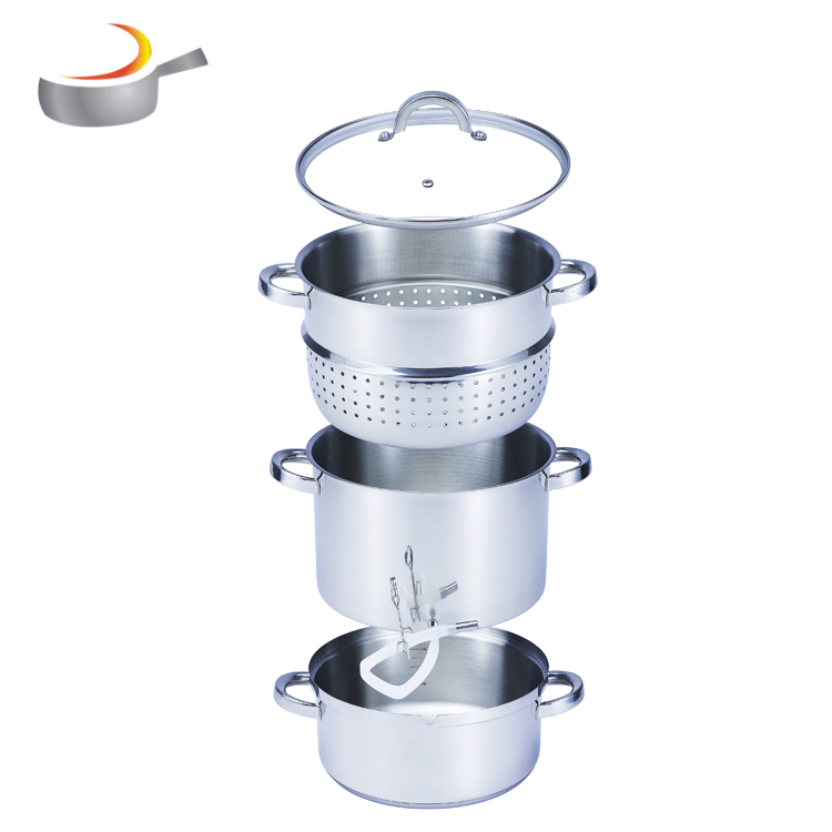 Stainless steel juicer steamer pot cookware set with glass lid