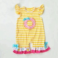 high quality yellow stripe 100% cotton embroidery infant baby romper