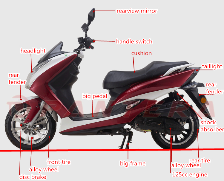 Gasoline Scooter 150cc Single Cylinder Motorcycle Engines Motorbike