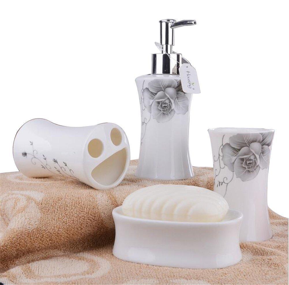 Get quotations · jynxos ceramic bathroom 4 pieces set supplies grey constricted flower bathroom accessories set stylish bath accessories