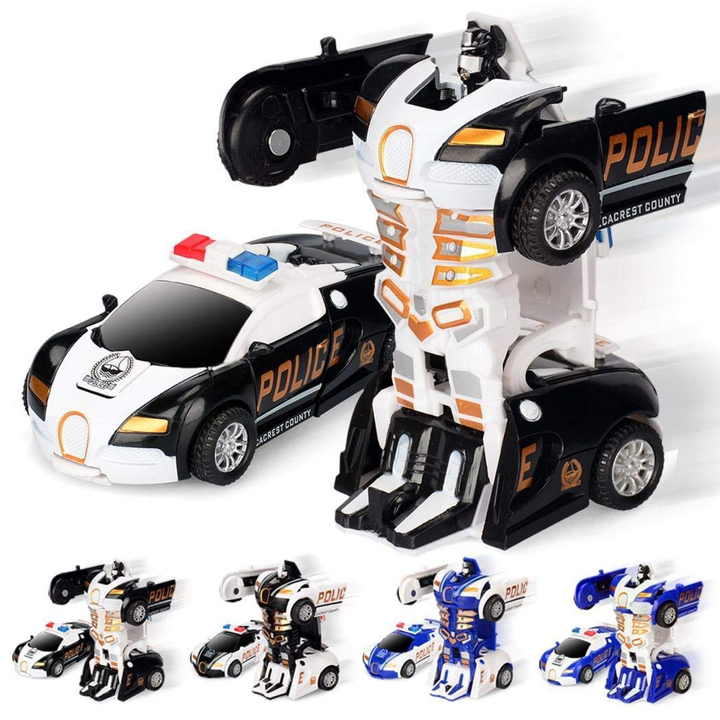 Goldenfox Children Toy Mini Manual Collision Deformation Car Robot Toy
