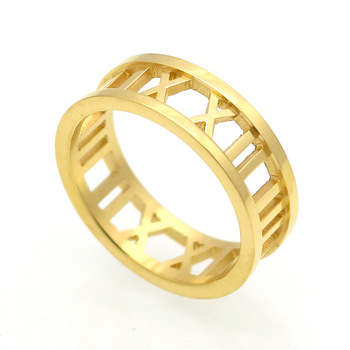 14k Gold Wedding Band Roman Numerals Date Ring Anniversary Gift Mom Family