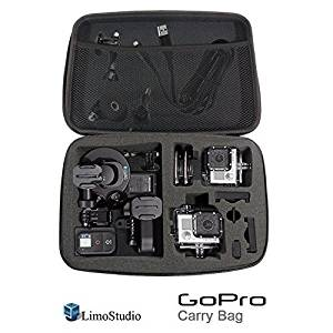 "LimoStudio GoPro Hard Case Carry Bag with Net and Sponge Compartment for GoPro Camera, Shock Proof, Water Proof, Multi Functional, Large Size, 12.5"" x 8.5"" x 2.5"", Photo Studio, AGG1918"