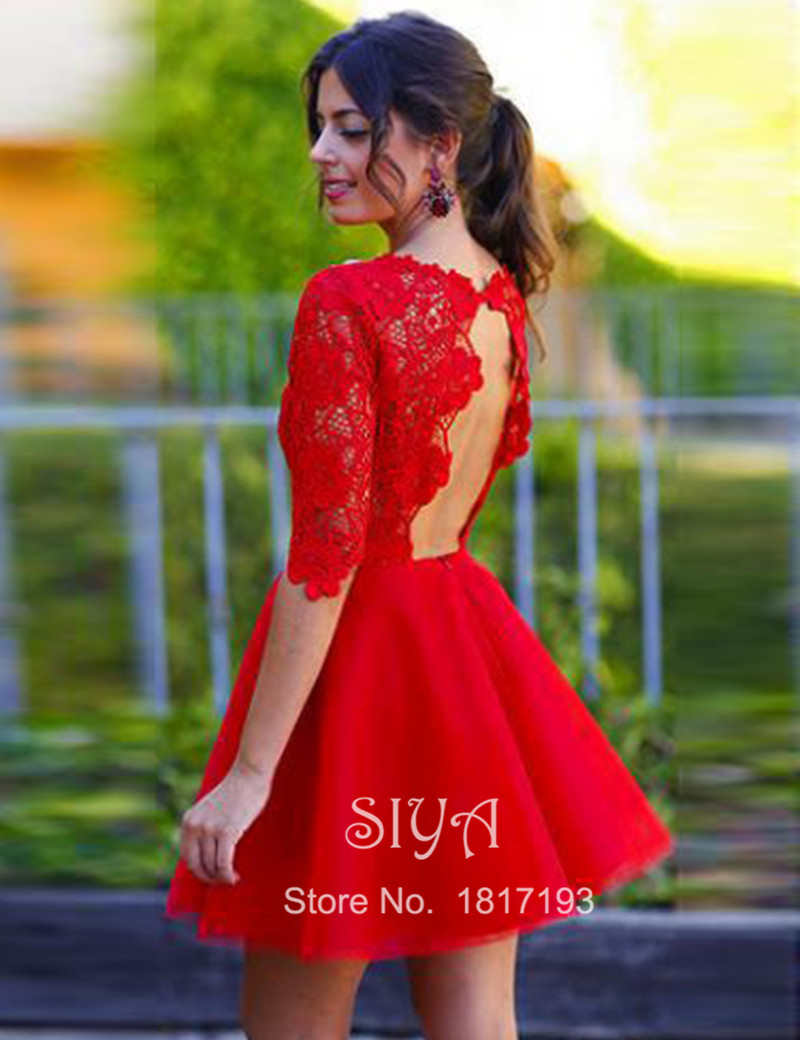 98635464c73 Free-Shipping-2016-Red-Cocktail-Dress-Scoop-Neck-A-line-Vestidos-De-Fiesta -Party-Gown-Lace vestidos media manga coctel