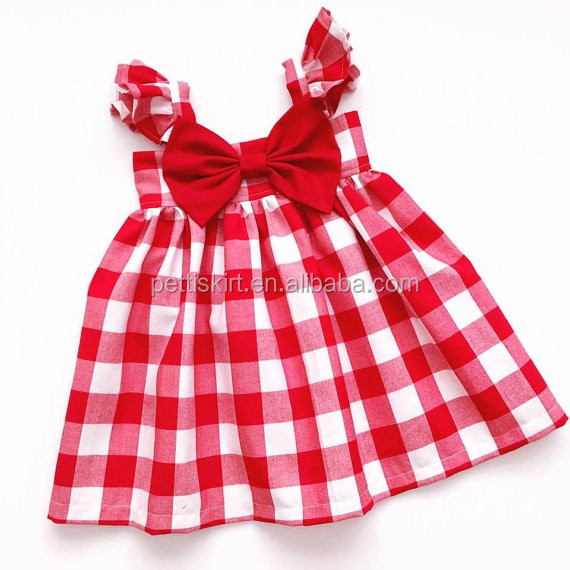 4c2c0f7e8cf Long frocks design for teenagers girls red gingham swing dress fully lined