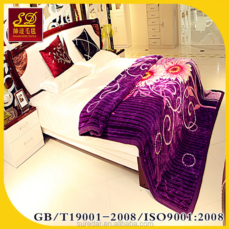 100% Polyester Korean Style 2Ply 1 Side Embossed Mink Blanket