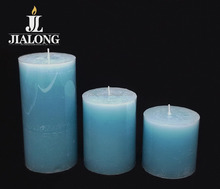 pillar candle with fragrance Poisette soft blue color aromatic candles aromatherapy